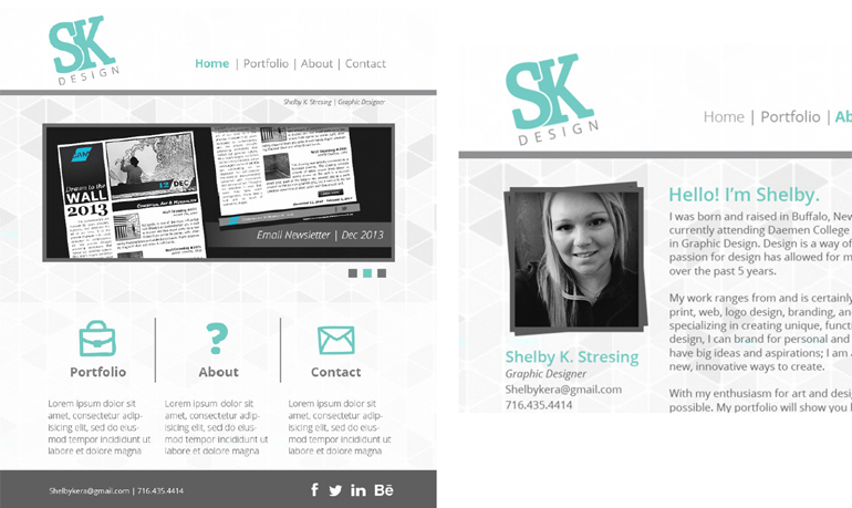 Shelby Stresing, SK Design, Portfolio Website, 2015
