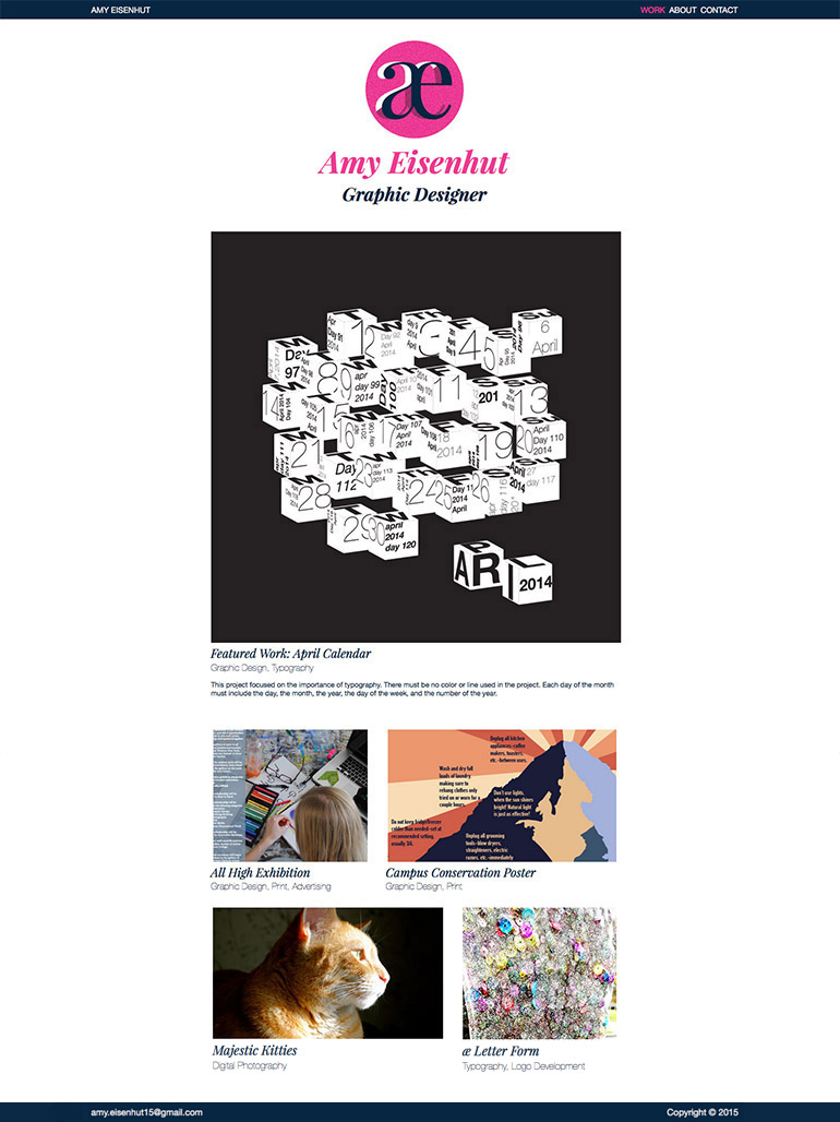 Amy Eisenhut, Portfolio Website, 2015